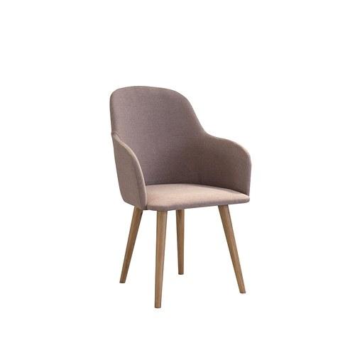 夏馬選物ShiamalSelect 典雅弧線形扶手餐椅 (褐)