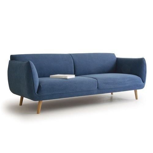丹麥Sketch 柔軟線條布面三人沙發 (丹寧藍)