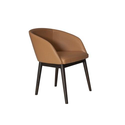 丹麥Sketch 圓弧靠背皮革單椅 (深駝)