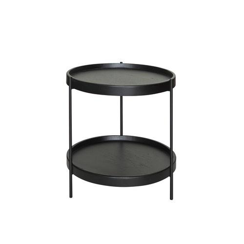 丹麥Sketch 立體邊緣雙層圓形邊桌 (黑、直徑44cm)