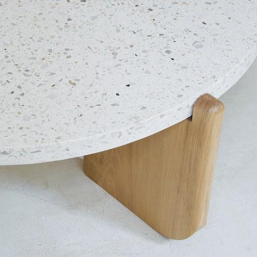 丹麥Sketch 水磨石面圓形茶几(白、直徑70公分)