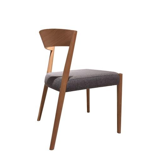 丹麥Sketch 一字淺木色靠背單椅 (灰藍)