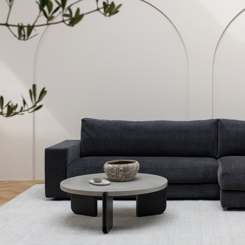 丹麥Sketch 水磨石面圓形茶几 (黑、直徑70公分)