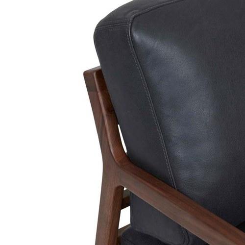 丹麥Sketch 斜背休閒皮革單人沙發 (黑)