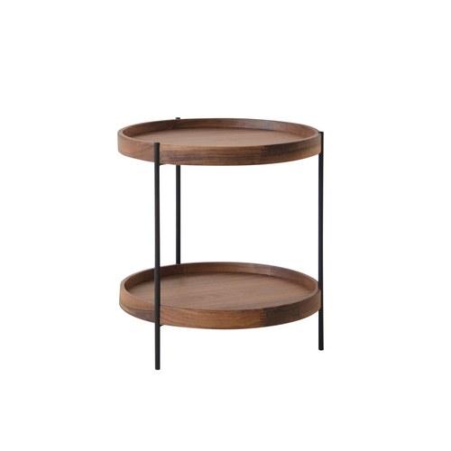丹麥Sketch 立體邊緣雙層圓形邊桌 (胡桃木、44公分)