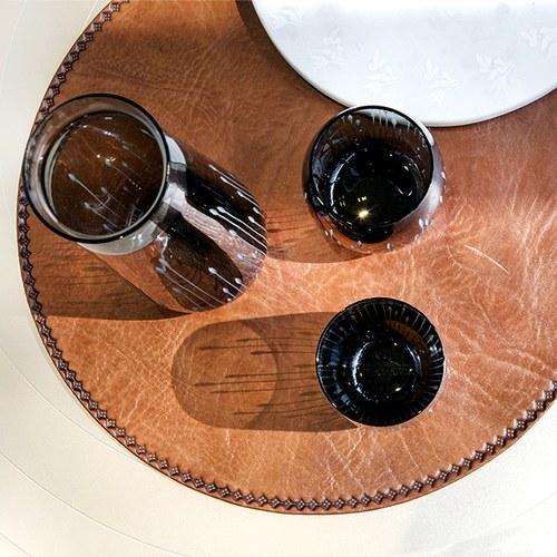 丹麥tineKhome 手工皮革圓形餐墊 (棕、直徑40公分)