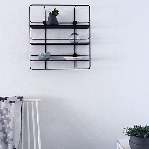 丹麥WOUD COUPÉ鏤空窗格壁掛層架 (黑)