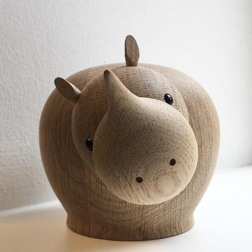 丹麥WOUD RINA犀牛原木擺飾 (高11.5公分)