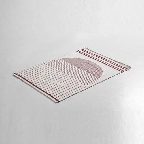 丹麥WOUD Raining Circle落雨線條軌跡地毯(勃艮第酒紅、240)