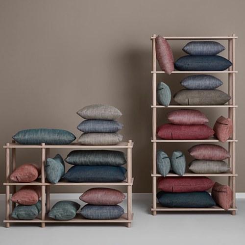 丹麥WOUD 菱格紋編織素色方形抱枕 (海軍藍)