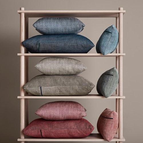 丹麥WOUD 菱格紋編織素色方形抱枕 (大地米)