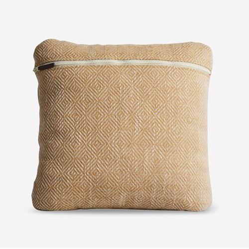 丹麥WOUD 菱格紋編織素色方形抱枕 (芥黃)