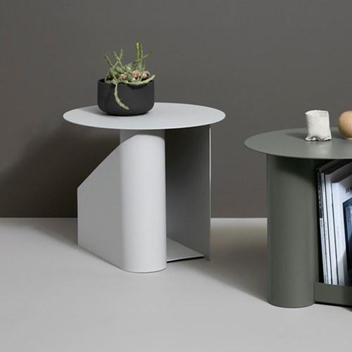 丹麥WOUD SENTRUM金屬收納邊桌 (淺灰)