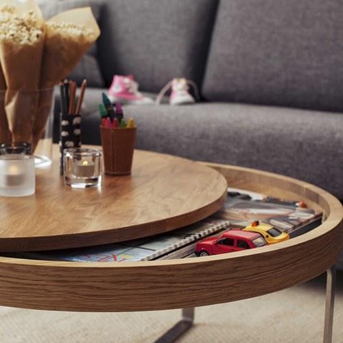 波蘭Sits 收納款橡木圓形邊桌