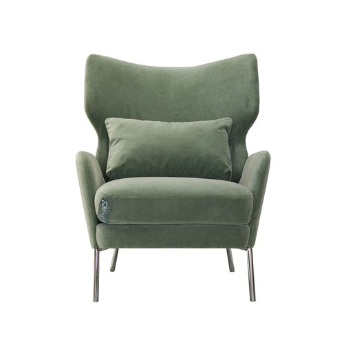 波蘭Sits Alex摩登天鵝絨單人沙發 (綠)