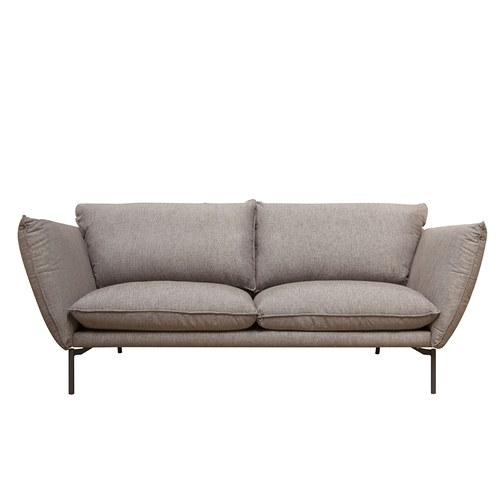 波蘭Sits Hugo金屬腳布面三人沙發 (棕色G)