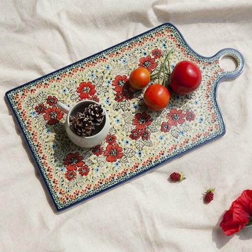 波蘭 Zaklady 小紅花園長形陶瓷托盤 (長45公分)