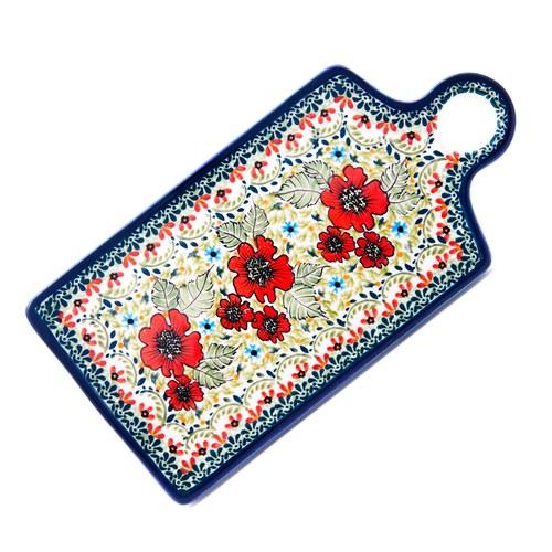 波蘭 Zaklady 小紅花園長形陶瓷托盤 (長28.5公分)