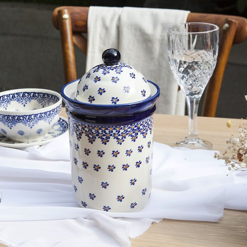 波蘭 Zaklady 藍花星點陶瓷圓型儲物罐 (直徑16.5公分)