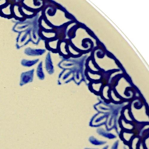 波蘭 Zaklady 古典藍花叢陶瓷圓形餐盤 (直徑16公分)