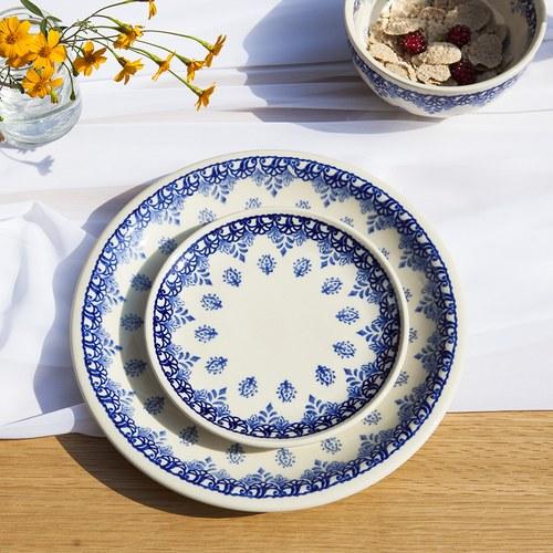 波蘭 Zaklady 古典藍花叢陶瓷圓形餐盤 (直徑24公分)