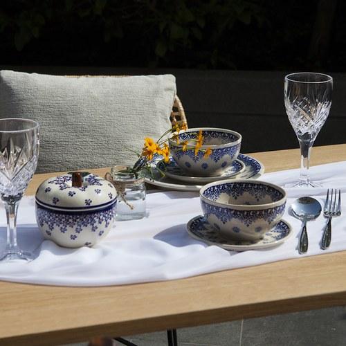 波蘭 Zaklady 古典藍花叢陶瓷圓形餐碗 (直徑13公分)