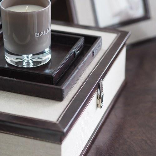 芬蘭Balmuir皮革家飾 正方形托盤 (深咖啡、長20公分)