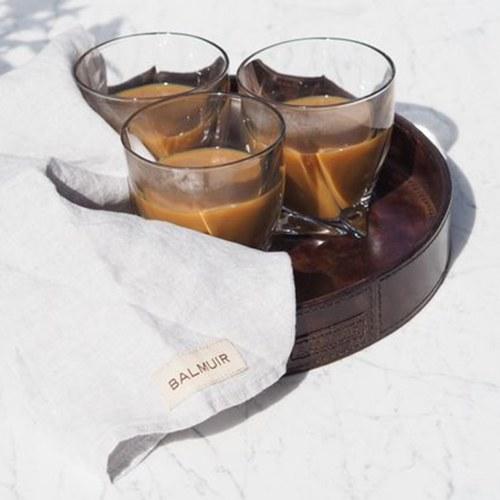 芬蘭Balmuir皮革家飾 圓形托盤 (深咖啡、直徑46公分)