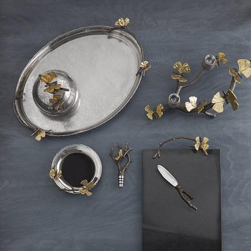 美國MichaelAram工藝飾品 銀杏蝴蝶系列圓形托盤 (長49.5公分)