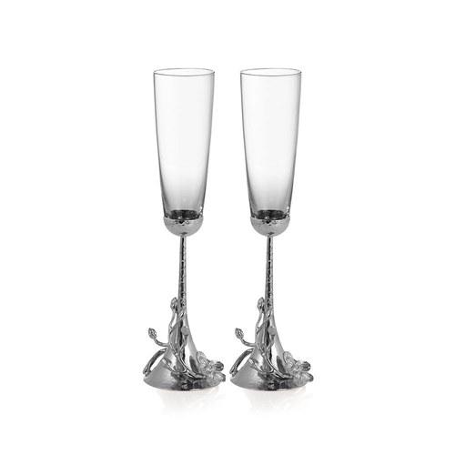 美國Michael Aram 優雅銀砌白蘭花造型香檳杯(2入)
