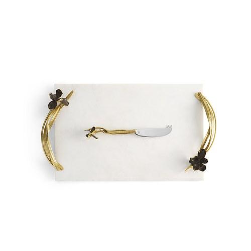 美國MichaelAram 黑色鳶尾花起司板附起司刀 (長47公分)