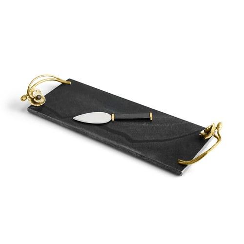 美國MichaelAram 瀲灩銀蓮花起司板附起司刀 (長43.8公分)