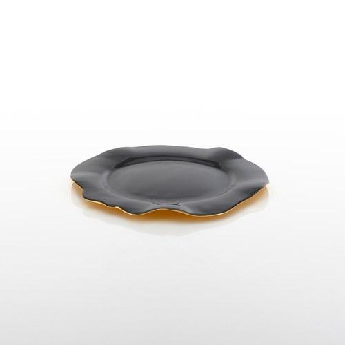 美國NimaOberoi 舞動皺褶餐盤 (黑灰、直徑23公分)