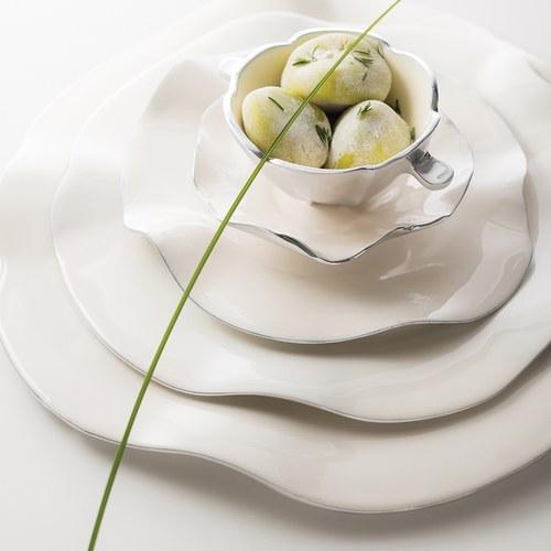 美國NimaOberoi 舞動皺褶餐盤 (米白、直徑35.5公分)
