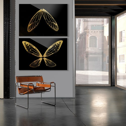 美國TwoPalms掛畫組 鏤金蝴蝶 (玻璃背板、長91公分)
