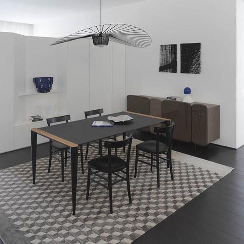 義大利HORM BOLERO極致奈米科技極簡錐形腳餐桌 (黑、長172公分)