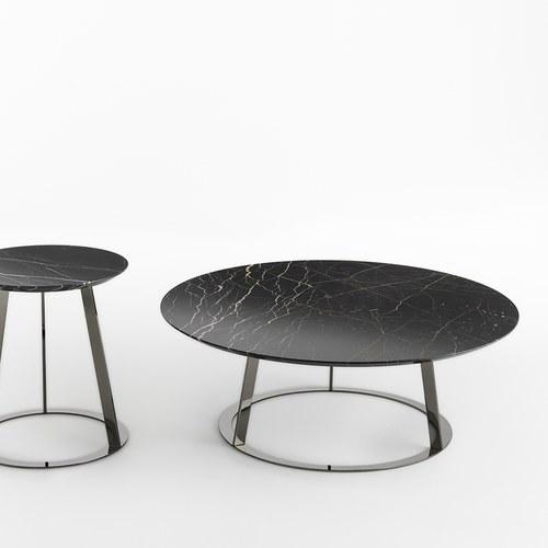 義大利HORM ALBINO FAMILY 大理石咖啡桌 (黑、直徑90公分)