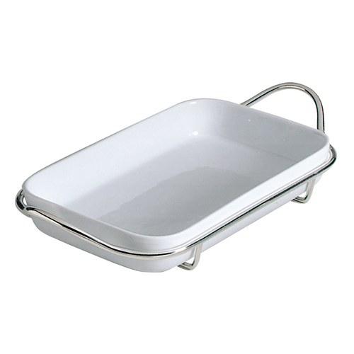 義大利MESA 銀把手長方形白瓷餐盤 (長52公分)