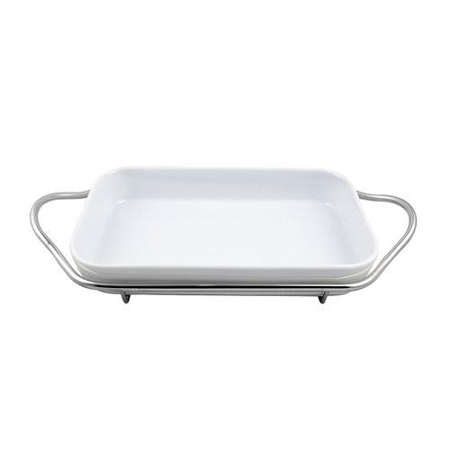 義大利MESA 銀把手長方形白瓷餐盤 (長56公分)
