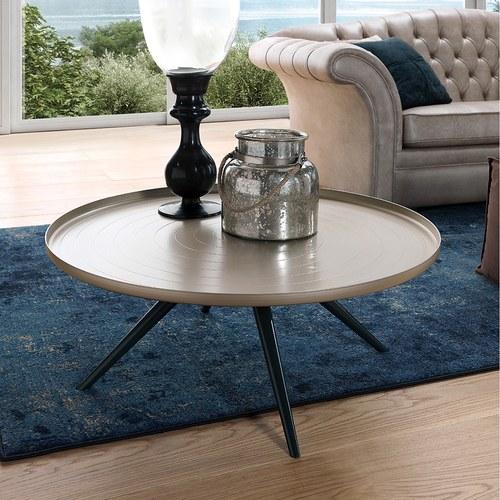 義大利OliverB OUTLINE咖啡桌 (香檳金、直徑70公分)