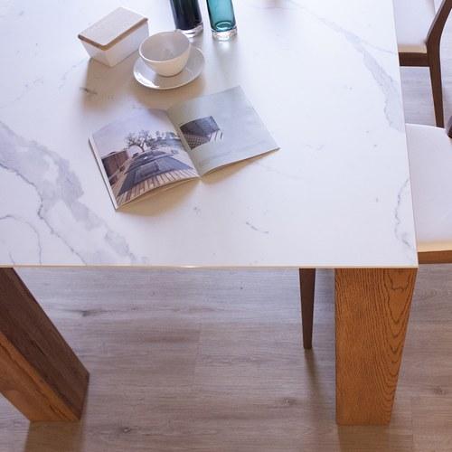 義大利Oliver B 陶瓷實木柱腳餐桌 (長180公分)