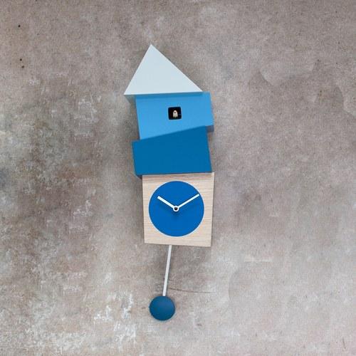 義大利 Progetti 歪房子咕咕鐘(藍白色)