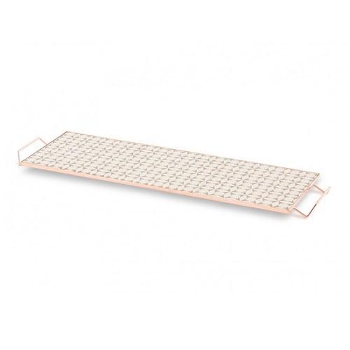 西班牙GanRugs 復古菱紋花磚高架托盤 (灰白)