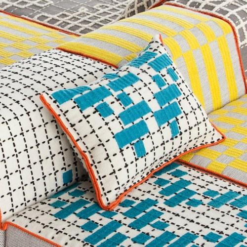 西班牙GanRugs 童趣色塊編織抱枕 (綠松石)