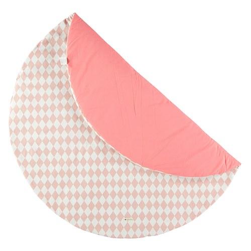 西班牙Nobodinoz有機棉滿月圓形遊戲地毯 (145cm、幾何方塊粉)