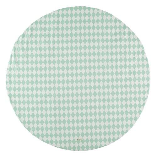 西班牙Nobodinoz有機棉滿月圓形遊戲地毯 (145cm、幾何方塊綠)