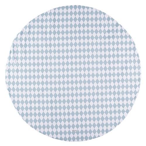 西班牙Nobodinoz有機棉滿月圓形遊戲地毯 (145cm、幾何方塊藍)
