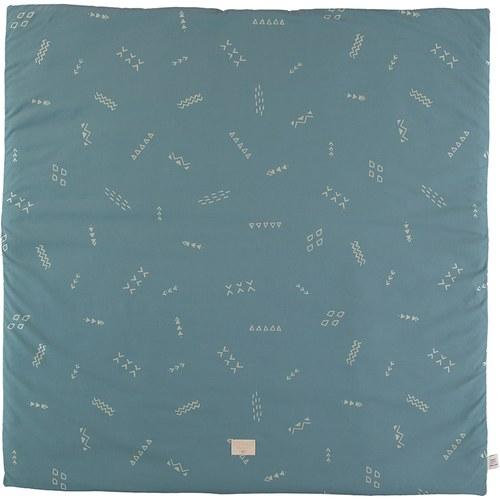 西班牙Nobodinoz有機棉方形兒童遊戲地墊 (綠色營地探險)