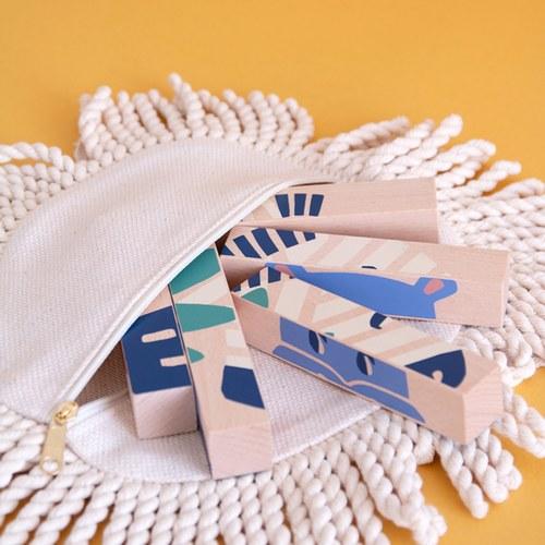 西班牙Nobodinoz 木製配對學習積木 (野生動物)