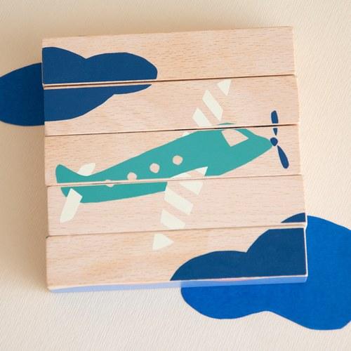 西班牙Nobodinoz 木製配對學習積木 (交通工具)